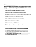 Independent/Dependent Clause Quiz/ Worksheet