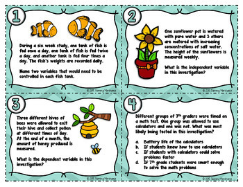 Independent and Dependent Variables Task Cards | Science Task Cards