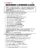 Independent & Dependent Clauses - Worksheet & Answer Key