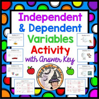 Independent & Dependent Variables Math Stations Task Cards Activity Center