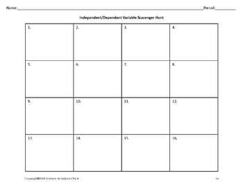 Independent/Dependent Variables Task Cards and Scavenger Hunt