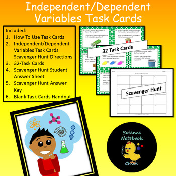 Independent/Dependent Variables Task Cards and Scavenger Hunt