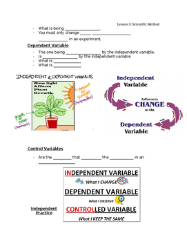 Independent, Dependent, and Constant Variables Guided Notes