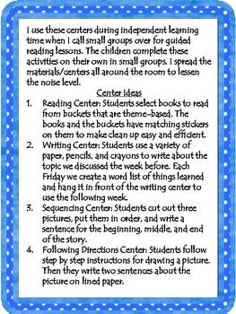 Independent Learning Centers for Kindergarten