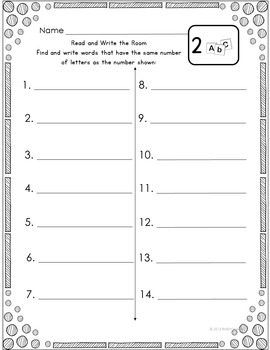 Literacy Center Read and Write the Room Kindergarten First Grade