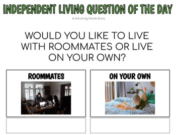 Independent Living Question Of The Day w Visuals Special Education Life Skills