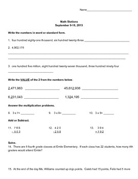 Independent Math Activity