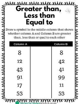 Independent Math Seat Work