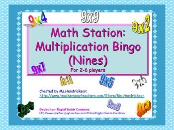 Multiplication Bingo (Practice the nines math facts)