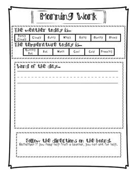 Independent Morning Work (morning meeting worksheet)
