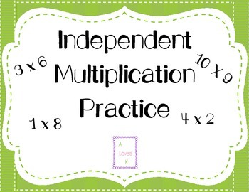 Independent Multiplication Practice (Roll and Multiply)