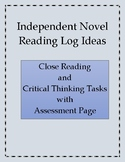 Independent Novel Activities for Close Reading Assessment