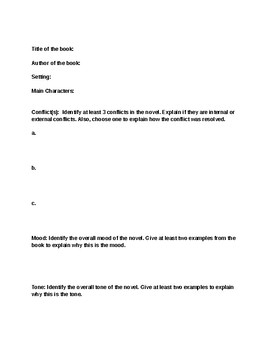 Independent Novel Assignment