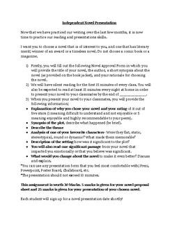 Independent Novel Presentation Sheets