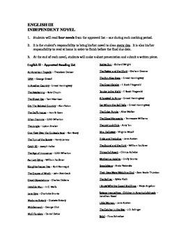 Independent Novel Reading List, High School American Literature