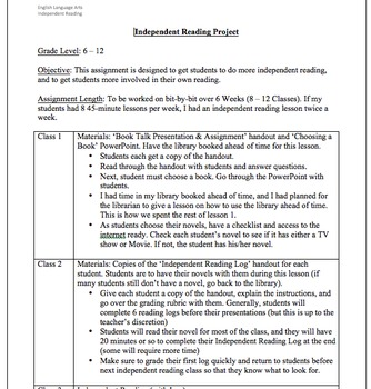 Independent Novel Reading Unit