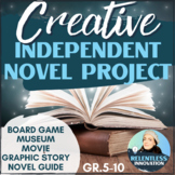 ⭐Independent Novel Study Final Creative Project Differentiated by Choice