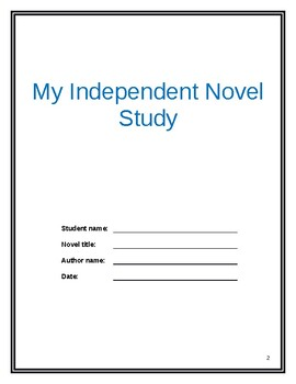 Independent Novel study unit