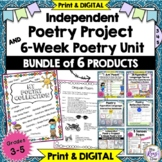 Poetry Project 6 Week Poetry Unit BUNDLE 6 Products Distance Learning DIGITAL