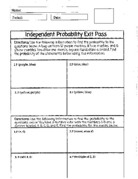 Independent Probability Exit Pass