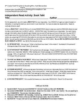 Independent Read Activity: Book Talk