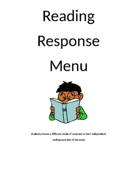 Independent Reader Response Menu