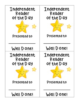 Independent Reader of the Day Award Certificate Incentive
