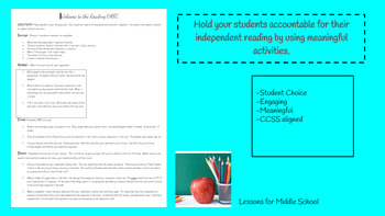 Independent Reading Accountability- Middle School Novel Literacy Activity