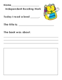 Independent Reading Accountability Sheet