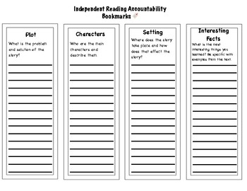Independent Reading Accountably Bookmarks