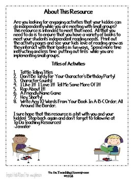 Independent Reading Activities Set #1