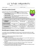 Independent Reading Activities - en français RUBRICS INCLUDED