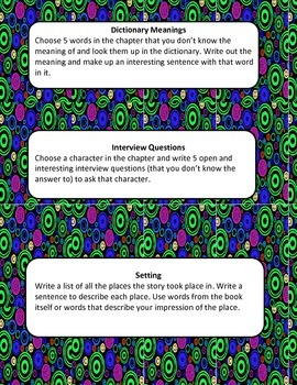 Independent Reading Activity Cards