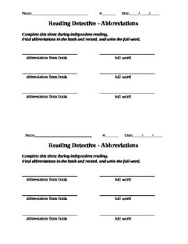 Independent Reading Activity - Reading Detective