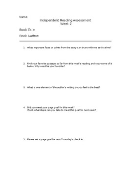 Independent Reading Assessment Week 2