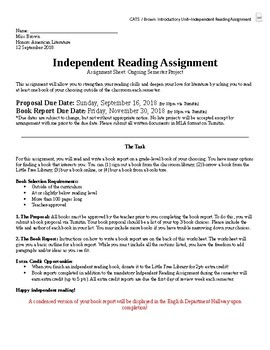 Independent Reading Assignment Sheet