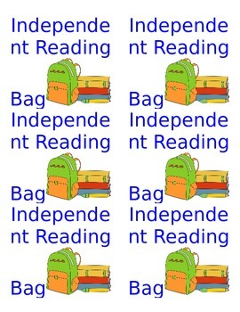 Independent Reading Bag Labels