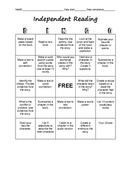 Independent Reading Bingo