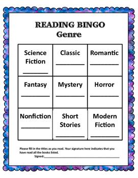 Independent Reading Bingo Cards