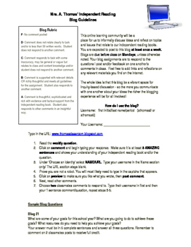 Independent Reading Blog guidelines, directions, questions