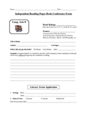 Independent Reading Book Conference Form