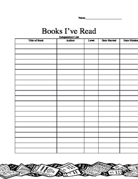 Independent Reading Book List