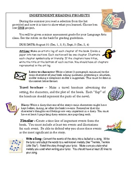 Summer Reading Book Project Choices with Rubric (Ind. Reading Assessment)