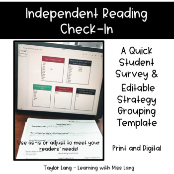 Independent Reading Check In - Survey and Strategy Grouping Template