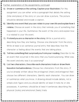 Independent Reading Choice Activity Calendar Worksheets and for Google Classroom