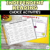 Independent Reading Choice Menu Calendar Worksheets and for Google Classroom