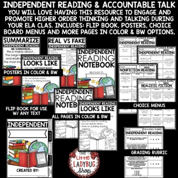 Independent Reading Activities, Choice Boards, and Rubric