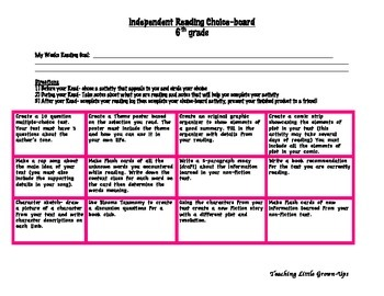 Independent Reading Choice-board