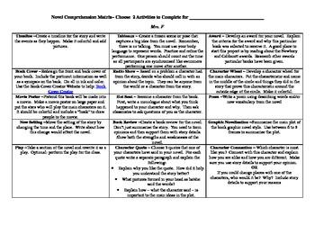 Independent Reading Comprehension Check Matrix