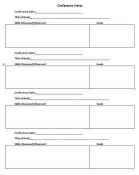 Independent Reading Conference Form and Fiction and Non-Fiction Reading Logs